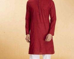 Red cotton kurta for Pooja