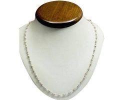 Tulsi silver chain  mala Tulsi white beads silver cap mala