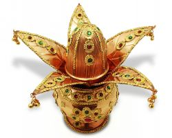 Ornate copper kalash with copper leaf and nariyal complete copper kalash set