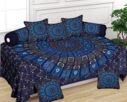 Diwan set cotton barmeri print blue