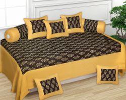 Diwan set glody print cotton Diwan set yellow Black