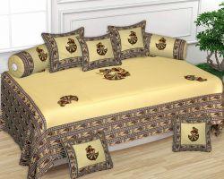 Diwan set patchwork yellow Jaipuri art cotton Diwan set