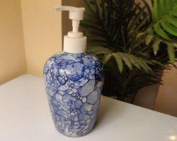 Ceramic handwash bottle dispenser beautiful blue pottery handwash dispenser 300ml capacity
