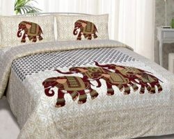 Bedsheet double bed cotton double bed bedsheet elephant design