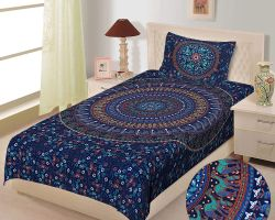 Bedsheet single bed cotton with pillow cover barmeri print blue