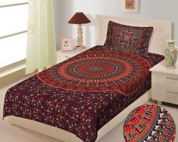 Bedsheet single bed cotton bedsheet with pillow cover  barmeri print red