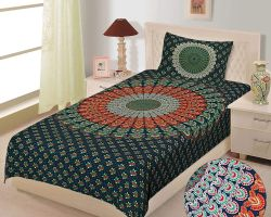 Bedsheet single bed cotton barmeri print bedsheet green