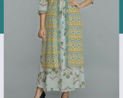 Kurti with shrug long cotton kurti with shrug inaya peach