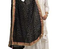 Bandhej dupatta gota patti border  bandej silk dupatta  with border latkan black