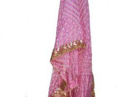 Bandhej dupatta with gota patti border bandej silk dupatta pink