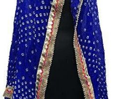 Bandhej dupatta with gota patti border bandej silk dupatta blue dark