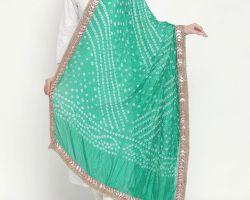Bandhej dupatta with gota patti border bandej silk dupatta parrot green