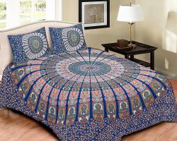 Bedsheet Cotton double bed with pillow barmeri print bedsheet king size light mix