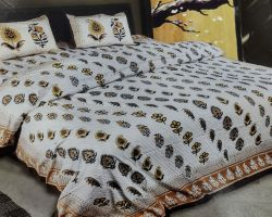 Bedsheet Cotton double bed with pillow cover white base print
