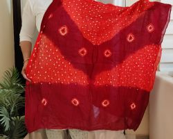 Dupatta bandhej cotton bandej dupatta red and coffee
