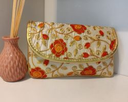 Bag handbag clutch bag  purse orange embroidery work handmade