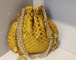 Bag potli bag handmade zari work yellow potli bag