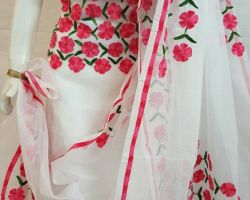 Suit material aari tari hand work on Kota doriya super net 3 piece dress material white red