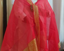 Dupatta art silk red colour with golden border