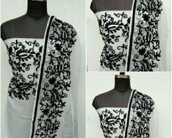 Suit material Kota doriya aari tari hand work black and white