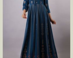Long flared printed  kurti blue