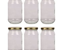 Glass jar 500gm capacity glass jar with gold cap set of 6