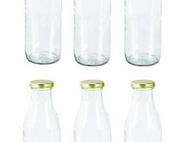Glass bottle 450ml capacity glass bottle with golden cap set of 6