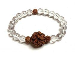 Sphatik rudraksh bracelet crystal rudraksha bracelet 5 mukhi rudraksh bracelet with Sphatik Crystal