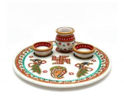 Marble decorative Pooja plate with bowl and kalash 6 inches