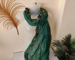Dupatta plain with multicolored border green