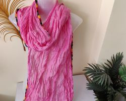 Dupatta cotton plain pink dupatta with colourful border