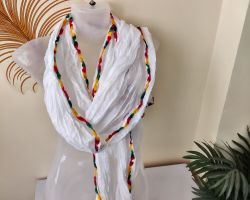 Dupatta plain white cotton with colourful border