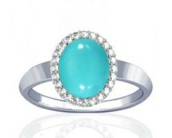 Turquoise ring turquoise stone silver ring with zircon firoza ring