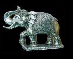 Silver elephant solid trunk up chandi ka thoss hathi 355gm