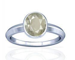 White sapphire ring Ceylon White sapphire silver ring oval