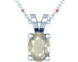 White sapphire stone pendant Ceylon White sapphire with silver pendant oval