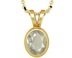 Ceylon White sapphire with gold pendant oval  safed pukhraj gold pendant