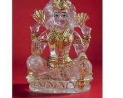 Sphatik laxmi with gold work pure sphatik laxmi idol with gold work 3.5 inches