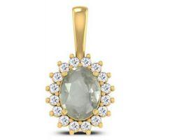 White sapphire pendant with diamond  white sapphire pendant in gold