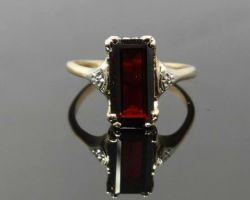 Garnet ring red garnet Silver gold ring rectangular shape gomed ring