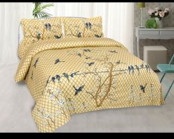Bedsheet double bed cotton with pillow king size lemon yellow code 5