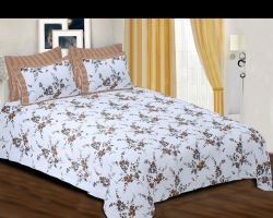 Bedsheet Cotton double bed with pillow cover white floral code 3