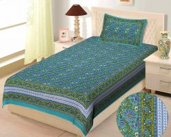 Bedsheet single bed cotton bedsheet with pillow cover code 3 green