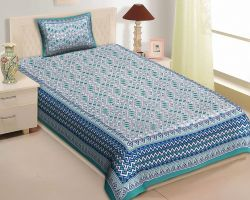 Bedsheet single bed cotton printed bedsheet with pillow cover code 4