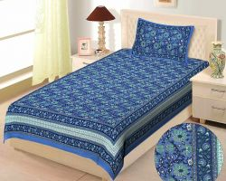 Bedsheet single bed cotton printed bedsheet with pillow cover indigo code 5