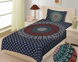 Bedsheet single bed cotton printed bedsheet with pillow cover barmeri print code 6