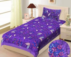 Bedsheet single bed cotton printed bedsheet with pillow cover purple code 1