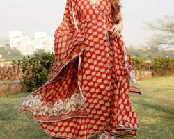 Angrakha design kurti with plazo and dupatta cotton red printed complete 3 piece suit