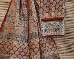 Chanderi silk dress material 3 piece chanderi silk suit material with handblock print cream and red   code 11
