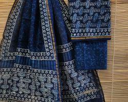 Chanderi silk dress material 3 piece chanderi silk suit material with handblock print  indigo ode 13